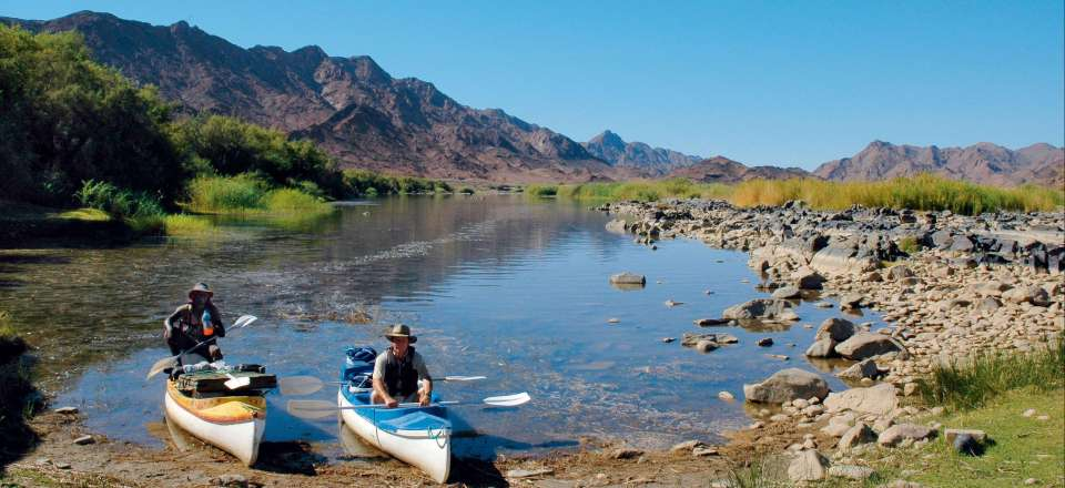Le Sud:  Kalahari, canoe sur le Fleuve Orange, Fish River Canyon