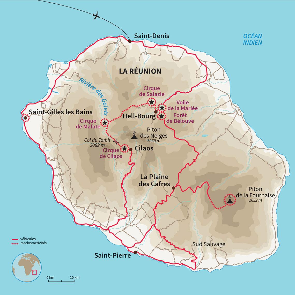 Carte Réunion Voyage famille Réunion